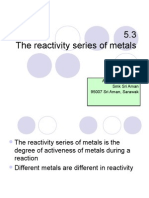 5.3 the Re Activity Series of Metals & 5.4 the Concept of Recativity Series of Metals