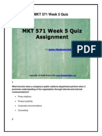 MKT 571 Week 5 Quiz Assignment