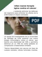 Desarrollan Nueva Terapia Inmunológica Contra El Cáncer