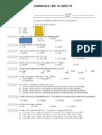 2nd Summative Test in Math Vi