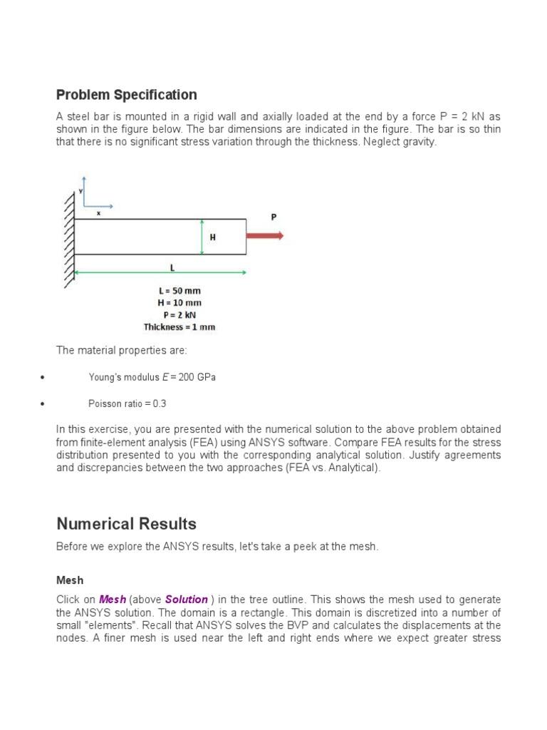 ansys tut | Bending | Stress (Mechanics)
