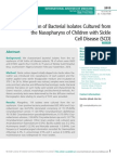 Characterization of Bacterial Isolates Cultured from the Nasopharynx of Children with Sickle Cell Disease (SCD)