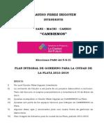 Plan de Gobierno de Claudio Pérez Irigoyen Para La Plata 2.015-2.019