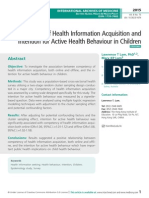 Competency of health information acquisition and intention for active health behaviour in Children