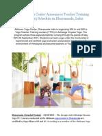 Abhinam Yoga Center Announces Teacher Training Course 2015 Schedule in Dharamsala, India