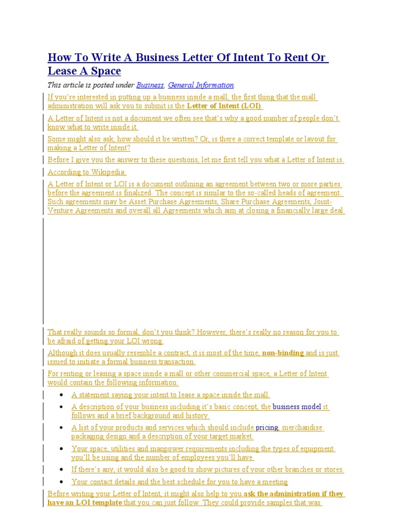 Letter of Intent to Rent or Lease a Space Hamburgers – Loi Samples