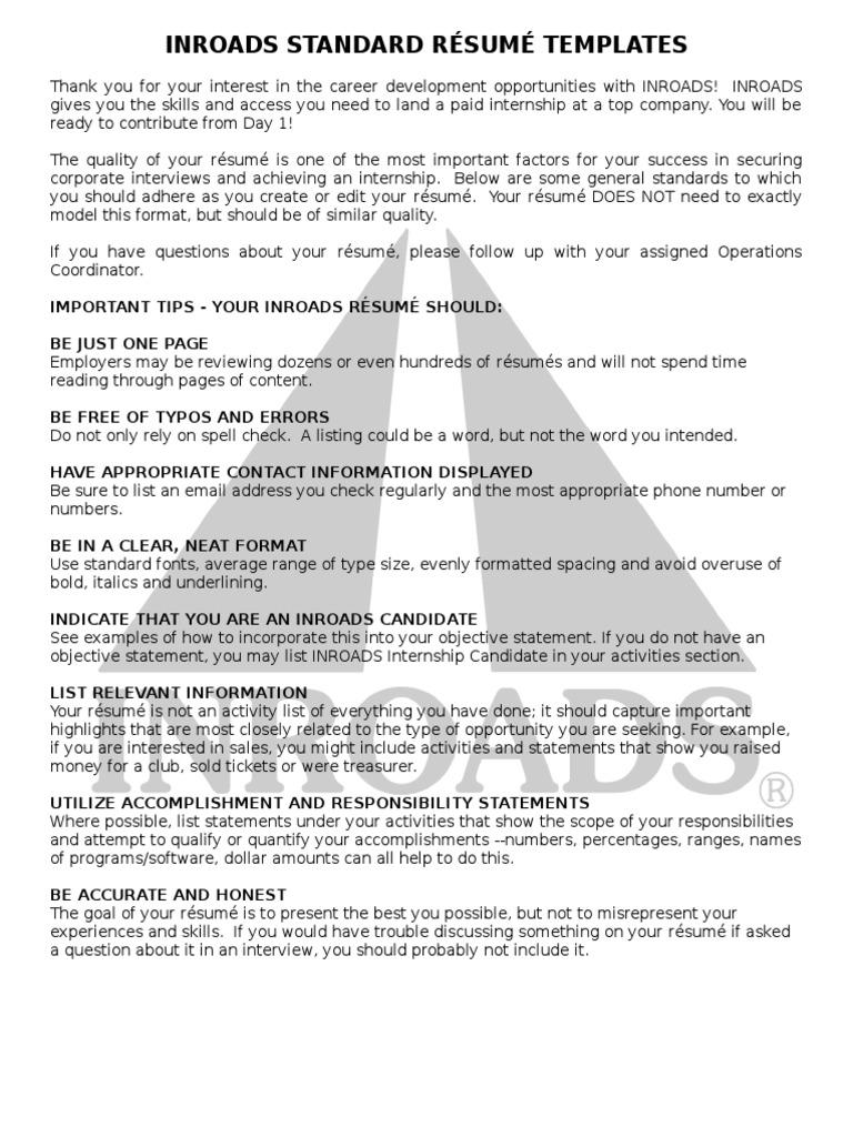 INROADS Standard Resume Templates R sum – Inroads Resume Template