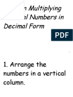 Rules in Multiplying Rational Numbers in Decimal Form