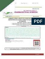 FORMULATION AND EVALUATION OF GASTRO-RETENTIVE FLOATING TABLET OF QUETIAPINE FUMARATE Shanti sagar*, Srividya. L, B.K Nanjawade