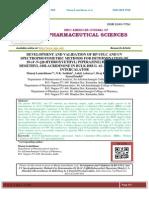DEVELOPMENT AND VALIDATION OF RP-UFLC AND UV SPECTROPHOTOMETRIC METHODS FOR DETERMINATION OF 10-(4'-N-[(Β-HYDROXYETHYL) PIPERAZINE] BUTYL)-1, 3-DIMETHYL-10H-ACRIDINONE IN BULK DRUG AS A POTENT DNA INTERCALATOR Manoj Lamichhane*, N.K. Sathish, Ankit Acharya, Braj Kishor Yadav, Saroj Paudel