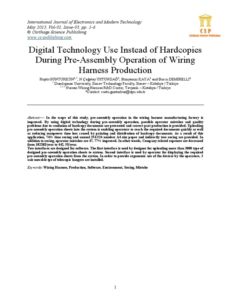 Digital Technology Use Instead Of Hardcopies During Pre Assembly International Wiring Harness Operation Production Modular Programming File Format