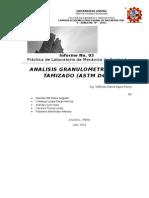 Informe de Analisis Granulometrico Por Tamizado