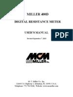 Miller 400D Resistance Meter User's Manual