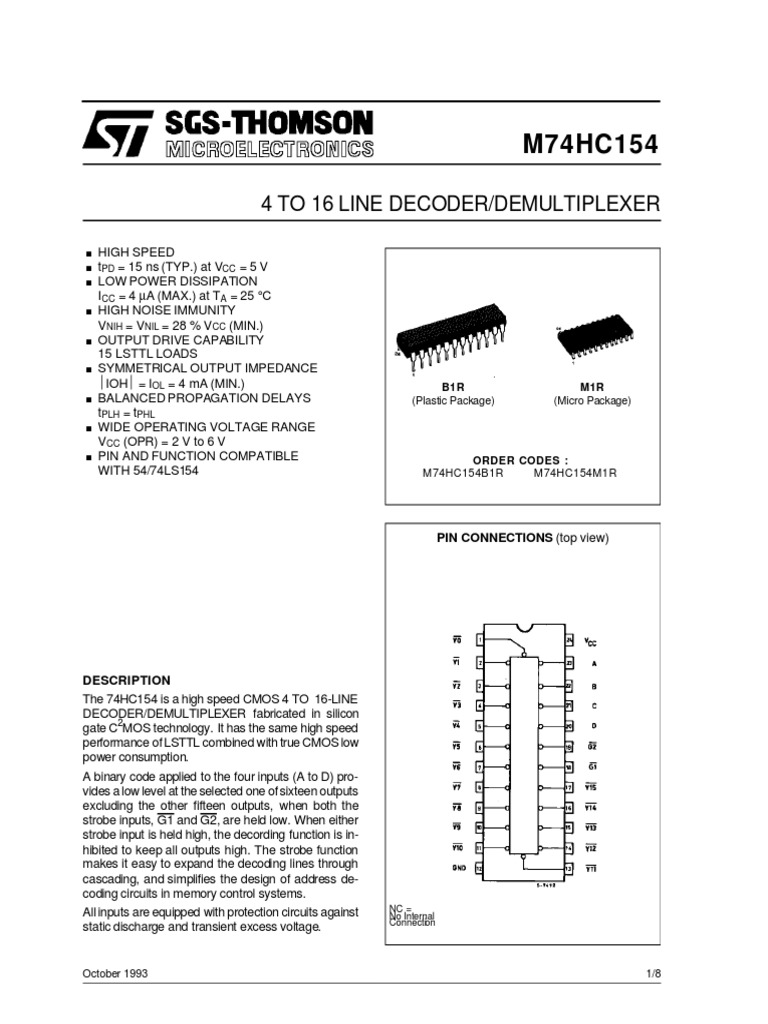 Lot of 4-74LS154 4 to 16-line Decoder//Demultiplexer NEW