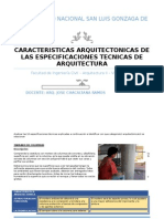 Especificaciones Técnicas Categoría Arquitectonica