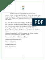 UWI Launch Address - 31 July 2015