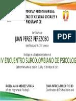 Certificado IV Encuentro Surcolombiano de Psicología