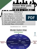 Model Sistem Nilai Pada Kewirausahaan Kelompok 8
