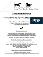 Canterbury Horse and Pony Breeders Soceity Inhand and Ridden Show 3 October 2015