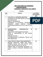 Food & Beverage Services Syllabus