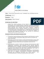 Publication Avis de Vacance Social Policy Specialist Monitoring Governance NO C