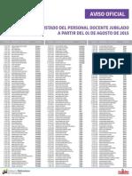 Lista de Docentes Jubilados ME Agosto 2015 - Agosto