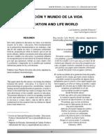 Educación y Mundo de La Vida