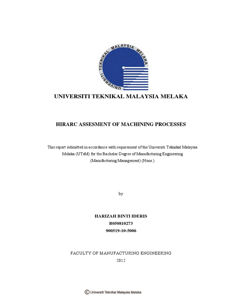 Contoh Report Hirarc Assesment Of Machining Process 24 Pages