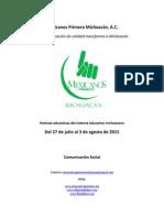Noticias del sistema educativo michoacano al 3 de agosto de 2015