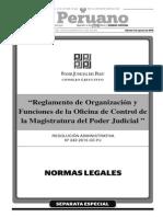 Reglamento de Organización y Funciones de La Oficina de Control de La Magistratura Del Poder Judicial