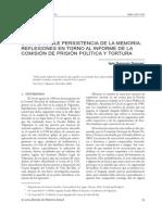 LA IMPLACABLE PERSISTENCIA DE LA MEMORIA. REFLEXIONES EN TORNO AL INFORME DE LA COMISIÓN DE PRISIÓN POLÍTICA Y TORTURA