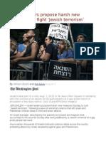 Israeli Leaders Propose Harsh New Measures to Fight 'Jewish Terrorism'