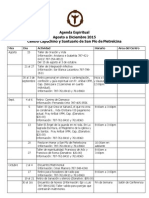 Agenda Espiritual Centro Capuchino Agosto a Diciembre 2015