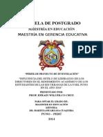 Universidad Nacional Del Altiplano Perfil de Proyecto 2014