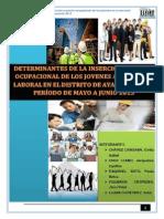 Determinantes de La Inserción y Puesto Ocupacional de Los Jovenes en El Mercado Laboral en El Distrito de Ayacucho
