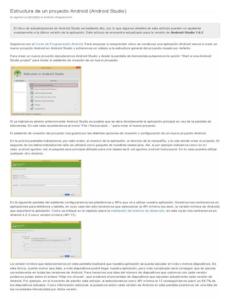 Estructura De Un Proyecto Android Android Studio Sgoliver Pdf Android Sistema Operativo Aplicación Movil