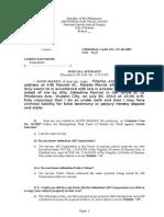 Theft Judicial Affidavit