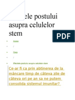 Efectele Postului Asupra Celulelor Stem