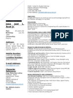 sample resume for single page