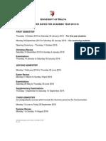 Semester Dates 2015-16
