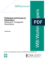Parliament and Access to Information by Toby Mandel
