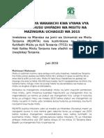 Maazimio Ya Wananchi Kwa Vyama Vya Siasa Kuhusu Uhifadhi Wa Misitu Na Mazingira Uchaguzi Wa 2015