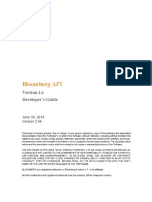 Blpapi Developers Guide 2 54 | Application Programming