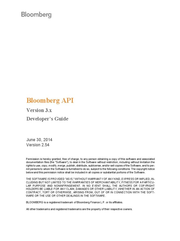 Blpapi Developers Guide 2 54   Application Programming Interface