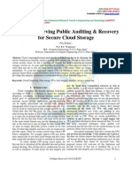 Privacy Preserving Public Auditing & Recovery for Secure Cloud Storage