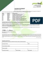 Green Fiber Tax Credit Certification Statement