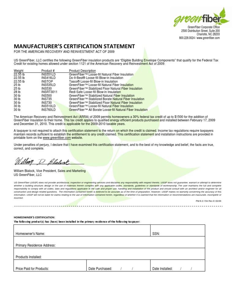 Green Fiber Tax Credit Certification Statement Building Insulation