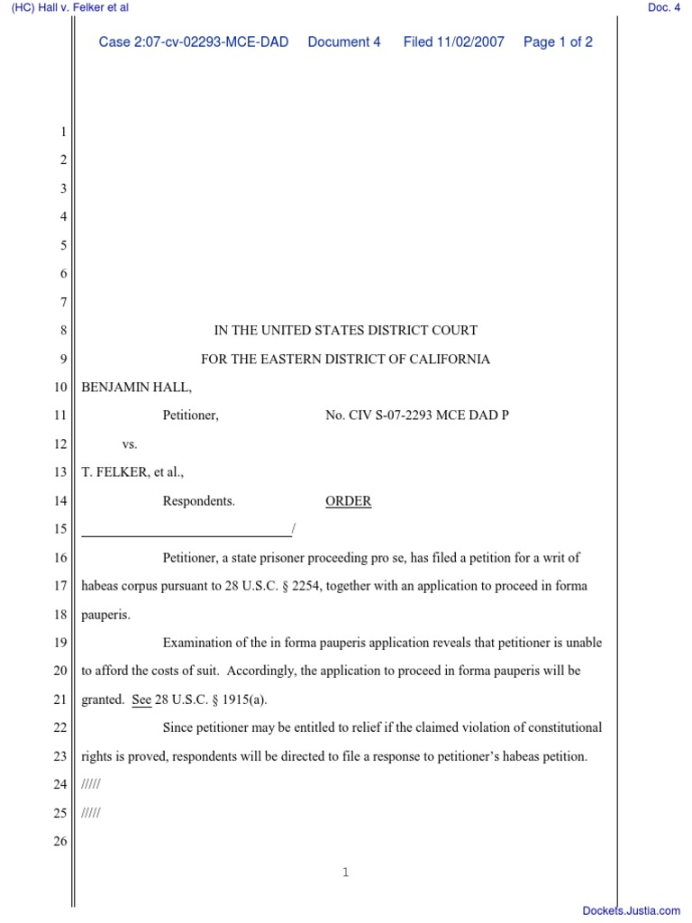 Hc Hall V Felker Et Al Document No 4 Habeas Corpus