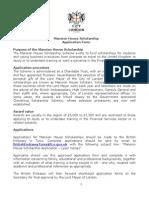 Mansion House Scholar Scheme - Application Form