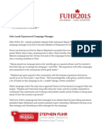 Fuhr lands experienced campaign manager
